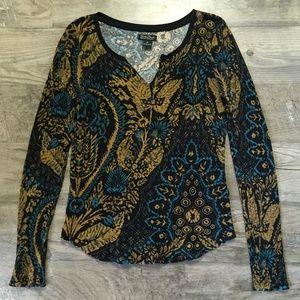 Lucky Brand Shirt Thermal Waffle Knit Black Sz XL